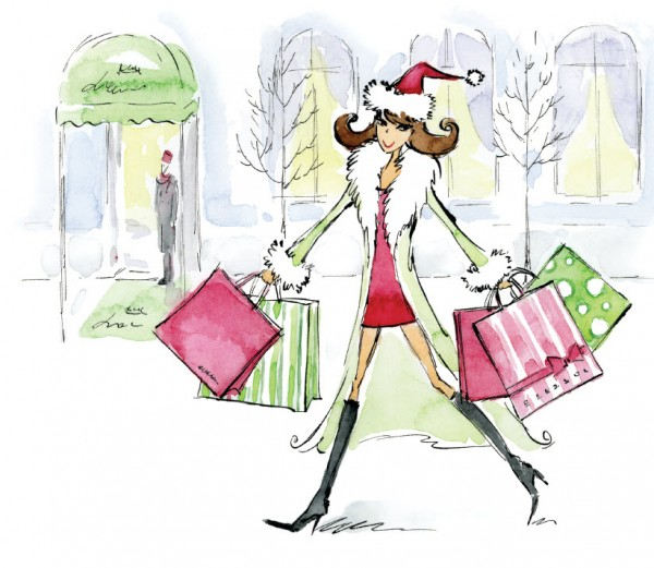 Drawing of lady Christmas shopping