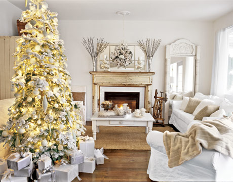 White Christmas Decorated Living Room