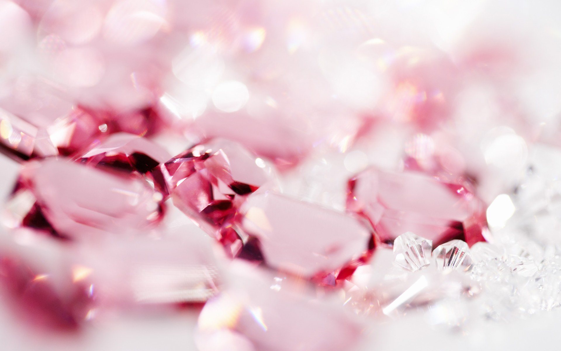 pink crystal hearts